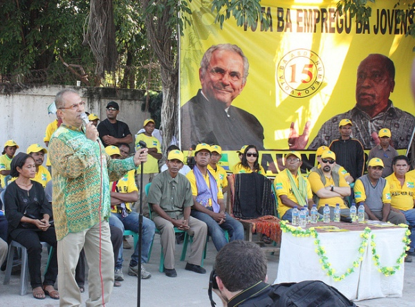 Former president José Ramos-Horta at a campaign in Dili, July 2012.  Photo credit: Janina M Pawelz