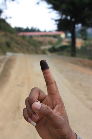 Inked finger after election.  Photo credit: Janina M Pawelz